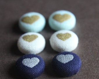Hearts -- Gold or Silver Heart on Mint, White, or Navy Blue Fabric Covered Button Earrings -- babblingbrookes