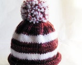 SALE 30% OFF - Roll Brim Pom Pom Hat for Premie or Newborn Baby Extra Small Size Red & White