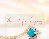 Reserved for Jenny - Layaway Payment Plan - Turquoise and Diamond Cluster Necklace // 14k Gold Cluster Pendant with Sweeping White Diamonds