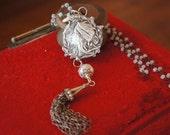 Reserved for H......Bohemian Forest Nymph Tassel Necklace with White Chalcedony Chain