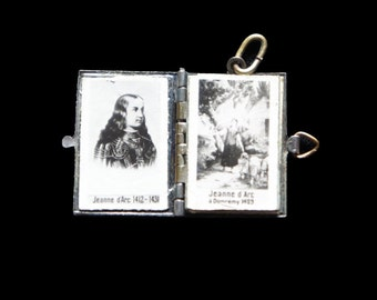 Joan of Arc Book Souvenir Locket Pendant Antique from France