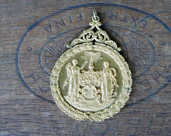 Antique Ornate Gold Plated All Seeing Eye Wreathed Medallion