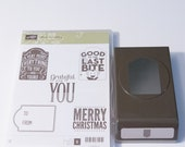 Stampin Up Merry Everything clear mount stamp set and matching Note Tag Punch