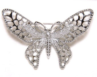 1971 Sarah Coventry Madame Butterfly Silver Tone Open Design Butterfly Vintage Pin Brooch