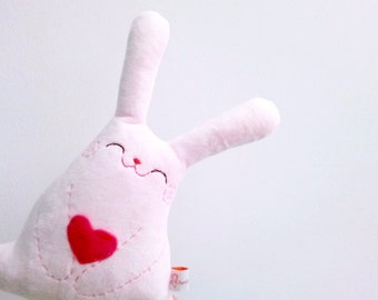 Pink Stuffed Bunny, Bunny Plush, Rabbit Plush, Bunny Rabbit Toy, Kids Stuffed Toy, Plush toy, Stuffed Animal, Heart - Bunny Roro