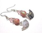 Bird Earrings, Rose Pink Green Earrings, Bird Charm Earrings, Swarovski Austrian Crystals, Spiritcatdesigns