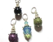 RESERVED FOR CAROL, Necklace Charms, Silver, Swarovski Crystals, Bumpy Pearls, Black Pearl