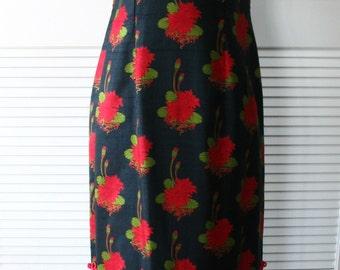 Thai Silk Water Lily Print Cheongsam Size 12 M-L