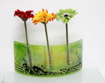 Fused glass  Curved vase Divided to three vases decoration -  Beautiful handmade green vase