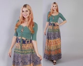 Vintage 70s Indian SKIRT / 1970s Ethnic India Cotton Batik High Waisted Bohemian Wrap MAXI