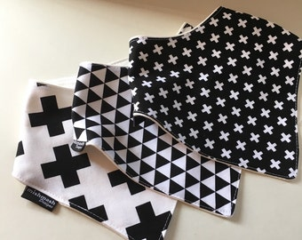 Designer Collection - Black and White Cross, Black and white Triangles and  White with Black Cross Bandana Bibs with Bamboo Fleece  Backing