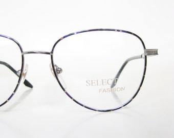 SALE Vintage 1980s Geek Chic Eyeglasses Metal Rim Frame Purple Green Mottled Tortoiseshell Womens Ladies Girls 80s Eighties Deadstock NOS