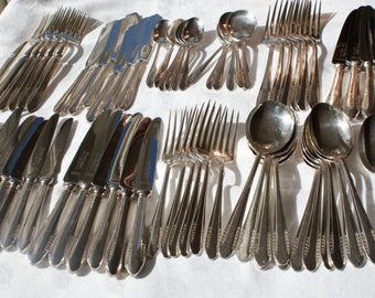 61 piece vintage plate cutlery set