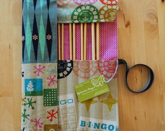 Knitting Needle Case / Organizer / Holder for Straight Needles - Retro Games Fabric with Orchid Geometric Lining