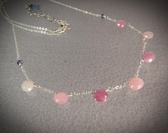 Pastel color natural Umba Sapphire briolettes 925 silver chain necklace/September birthstone jewelry/2 row bracelet/gift for her/gemstones