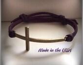 Sideways Cross Bracelet, Adjustable Leather Sideways Cross Bracelet