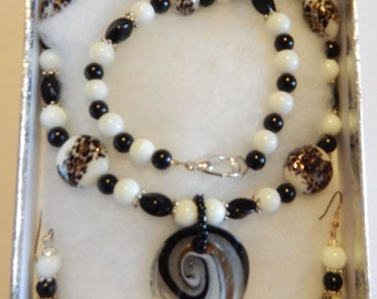 Murano Glass with Czech glass necklace & earring set