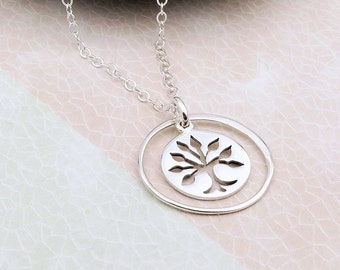 Family Tree Necklace, silver tree of life in eternity circle, sterling silver, gift for mom