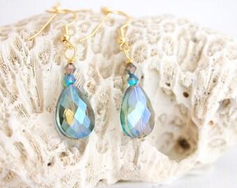 crystal teardrop earrings, blue crystal earrings, blue drop earrings, Siren Tears sparkly earrings