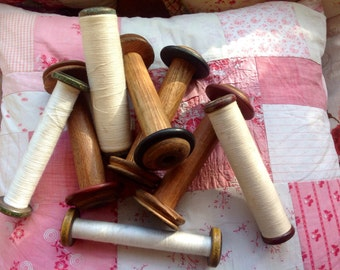 Vintage French Bobbins (larger ones without threads and red one with threads now sold)