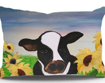 Cow sunflower fields pillow sham from my art