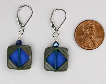 Royal Blue Czech Glass Earrings