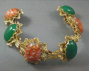 Vintage Chrysoprase and Coral Matrix Link Bracelet
