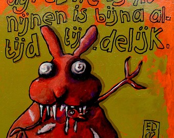 "113 Angry rabbit – print 21x21cm/8.5x8.5"""