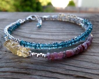 Double Strand Citrine, London Blue Topaz, Laradorite, Ruby and Fine Silver Gemstone Birthstone Bracelet
