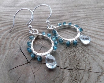 Genuine London Blue Topaz, Swiss Blue Topaz and Sterling Silver Gemstone Birthstone Wire Wrapped Earrings