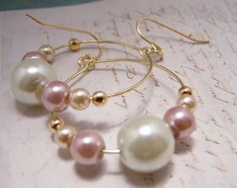 Pink and Ivory Pearl Hoop Earrings