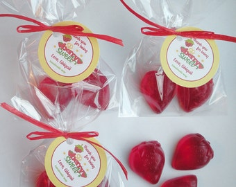 Strawberry Berry Sweet Berry Special Red Ripe Strawberry Shortcake Strawberries Soap Party Favors (20 Complete Favors with Tags -40 soaps)