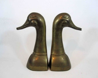 Vintage Large Brass Goose Head Bookends. Circa 1960's.