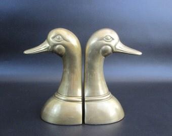 Vintage Brass Goose Head Bookends. Circa 1960's.