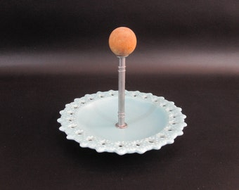 Vintage Mid Century Pottery Serving or Candy Dish in Robins Egg Blue. Circa 1950's.