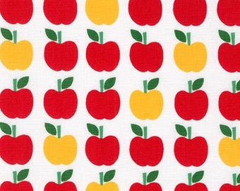 Back To School 2 Apples in White Ann Kelle Robert Kaufman Fabric, Choose your cut