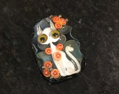 ValVaanaLampwork Handmade Glass Lampwork Bead Cat Kitten Perfect for Pendant Wire Wrapping Original One of a Kind