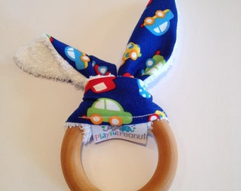 Natural Bunny Teething Ring   Teether   Bunny Ears   Teething Ring   Cars on Blue Fabric