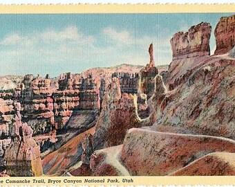 Vintage Utah Postcard - The Comanche Trail, Bryce Canyon National Park (Unused)