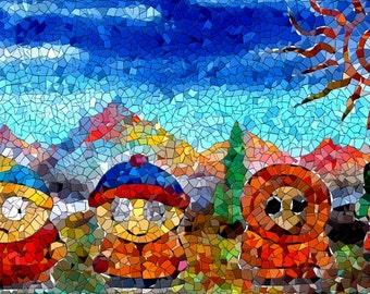 Spun Park Mosaic - Surreal South Park Landscape Print