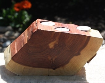 """Rustic Centerpiece, Candle, Votive Holder, freeform wood slice, rustic home, wedding, reclaimed Texas Red Cedar, 10"""" w x 5"""" tall, 4"""" thick"""