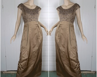 60s Satin Formal- Dress in Mocha- 1960s Beaded Satin- Cap Sleeves, Empire Waist- Small- Light Brown / Taupe