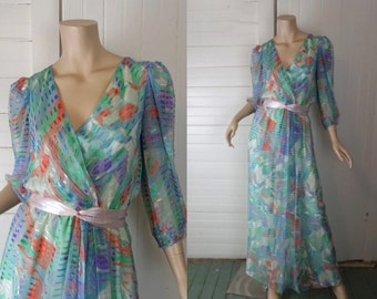 Impressionist Maxi Dress- 80s Silk Dress in Pastel- New Wave- 1980s- Sheer Sleeves