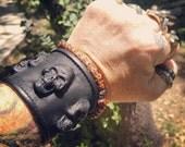 Griffin Leather Skull Wrist Cuff wristband heavy metal rock goth