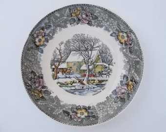 Adams China Currier Ives Amercian Ways FROZEN UP Transfer Ware Soup Bowl 7 Inch