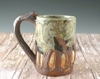 Arts and Crafts Mission Pottery Coffee Cup Woodland Mission Style - Original Design by Botanic2Ceramic - 840