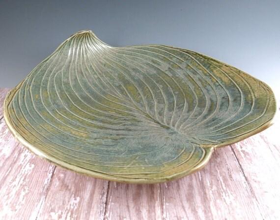 Pottery Serving Platter - Hosta Leaf Plate - 588