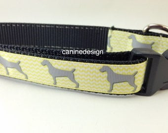 Dog Collar and Leash, Weimaraner, 1 inch wide, 6ft lead, quick release, metal buckle, chain, martingale, hybrid, nylon