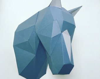 Horse papercraft. You get a PDF digital file with templates (pattern) and instructions for this DIY (do it yourself) wall paper sculpture.