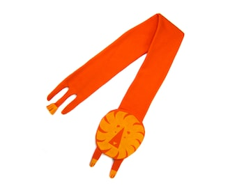Geo Lion Scarf - Hand Printed Sweatshirt Fleece Wraparound Scarf with Tail & Legs and Ears in Yellow Orange